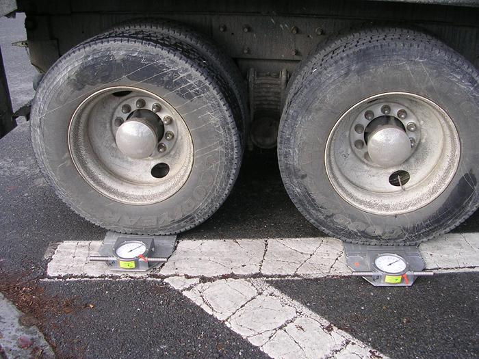 Truck Tires Being Measured